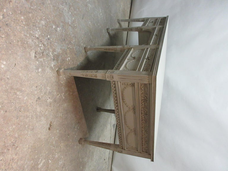 Mid-20th Century 8 Leg Gustavian Style Carved Desk For Sale