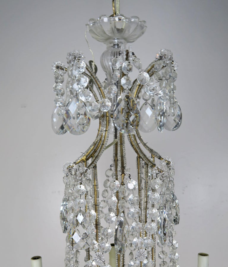 8-Light Italian Crystal Beaded Chandelier For Sale 5