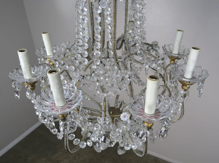 8-Light Italian Crystal Beaded Chandelier For Sale 6