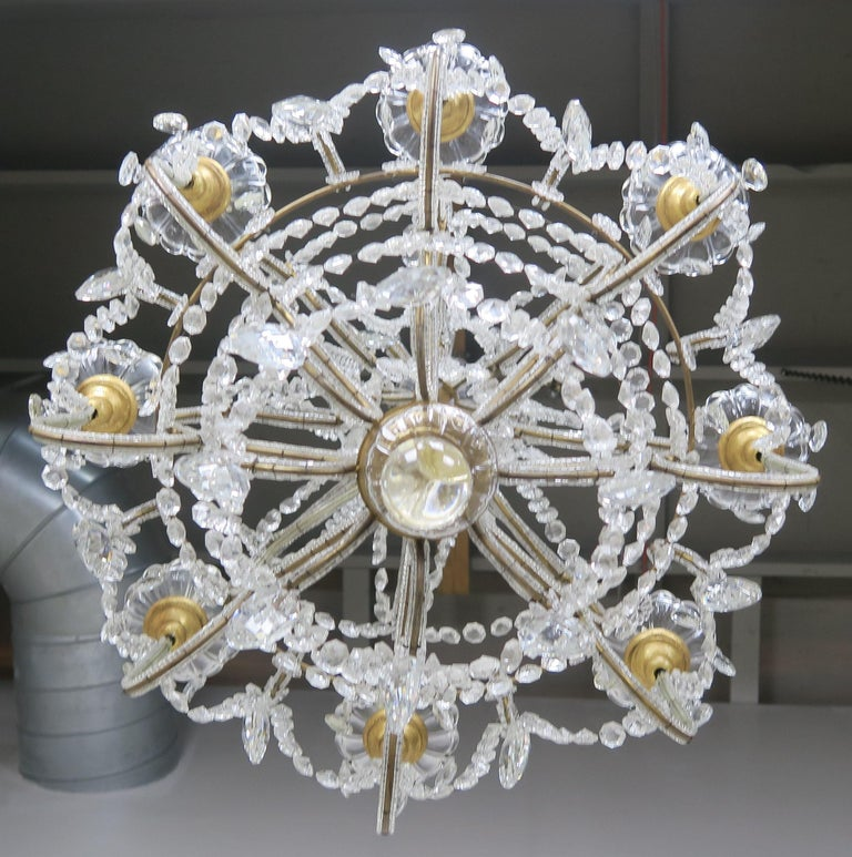 8-Light Italian Crystal Beaded Chandelier For Sale 7