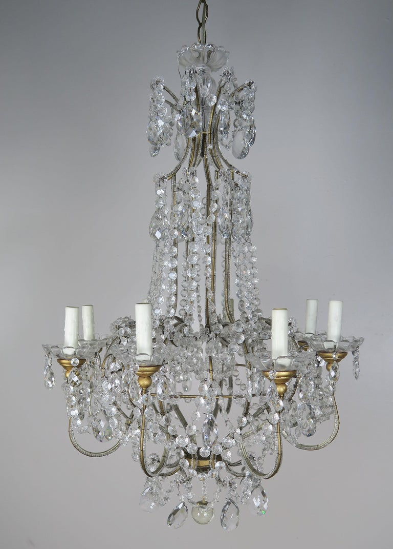8-Light Italian Crystal Beaded Chandelier For Sale 8