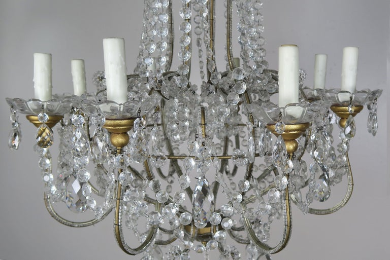 Rococo 8-Light Italian Crystal Beaded Chandelier For Sale