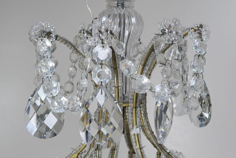 8-Light Italian Crystal Beaded Chandelier For Sale 1