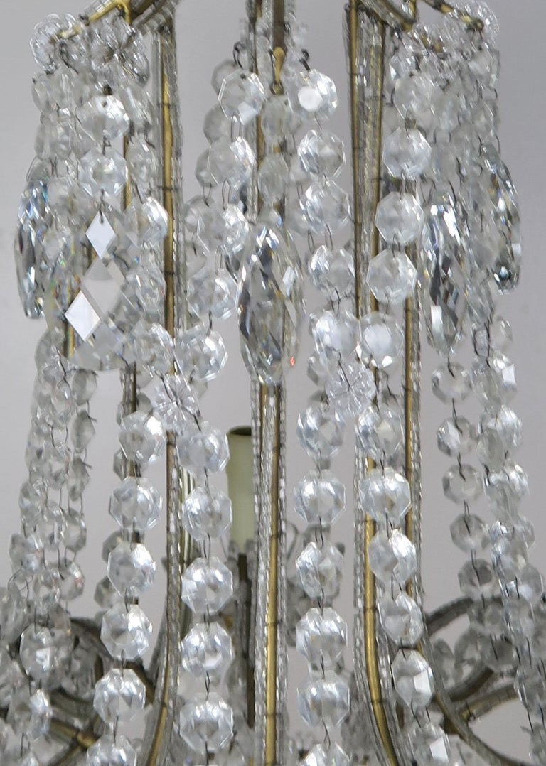 8-Light Italian Crystal Beaded Chandelier For Sale 4