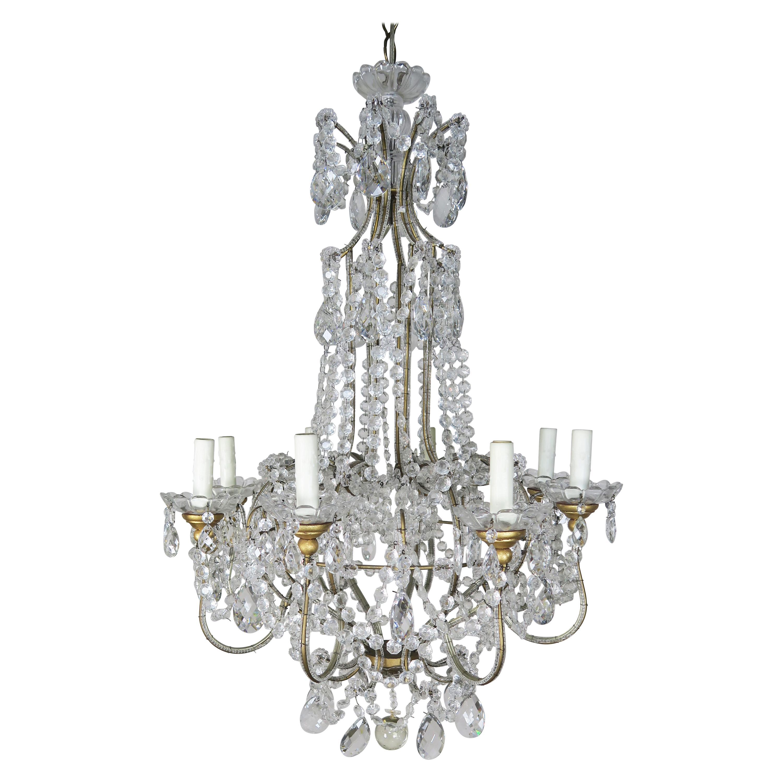 8-Light Italian Crystal Beaded Chandelier