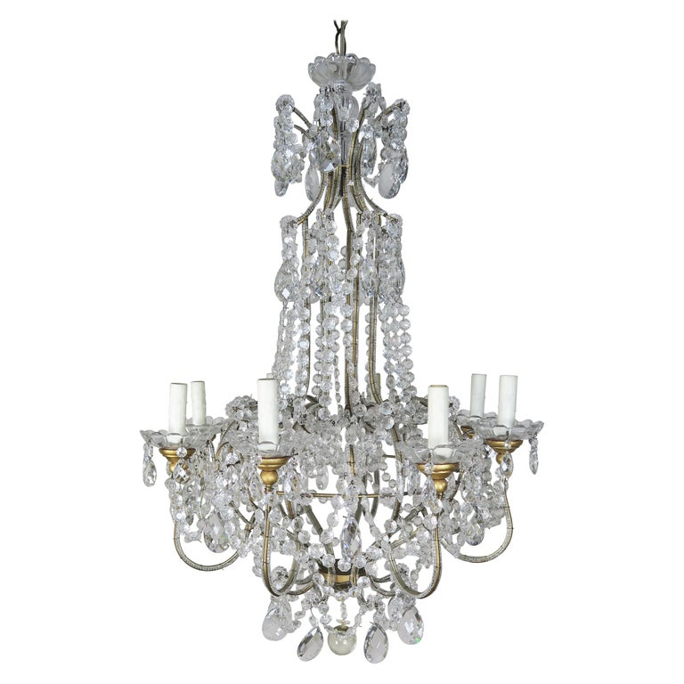 8-Light Italian Crystal Beaded Chandelier For Sale