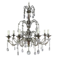 8-Light Italian Crystal Brass Chandelier, circa 1900
