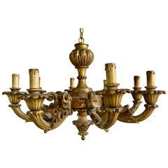 8-Light Italian Giltwood Chandelier, circa 1900s