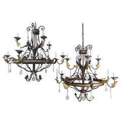 8-Light Spanish Baroque Style Rock Crystal Chandeliers, Pair