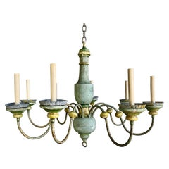 8-Light Wood Painted Italian Chandelier