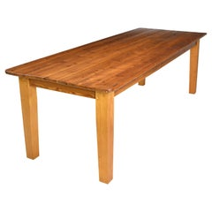 Long English Pine Farmhouse Dining Table with Tapered Legs and Antique Plank Top