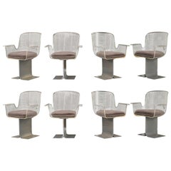 8 Lucite Sculptural Dining or Conference Swivel Armchairs with Metal Bases