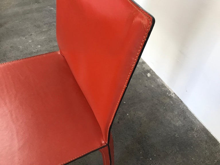 8 Mario Bellini CAB 412 Chairs in Russian Red Leather for Cassina For Sale 4