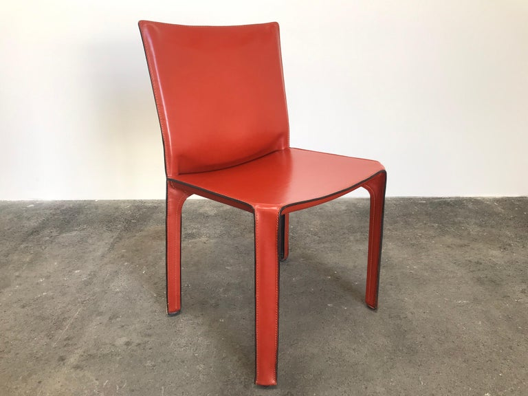 Mid-Century Modern 8 Mario Bellini CAB 412 Chairs in Russian Red Leather for Cassina For Sale
