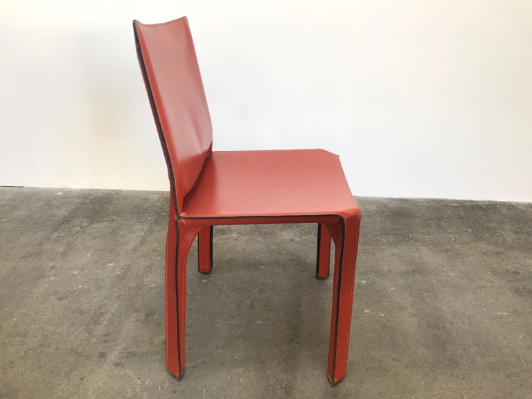Italian 8 Mario Bellini CAB 412 Chairs in Russian Red Leather for Cassina For Sale