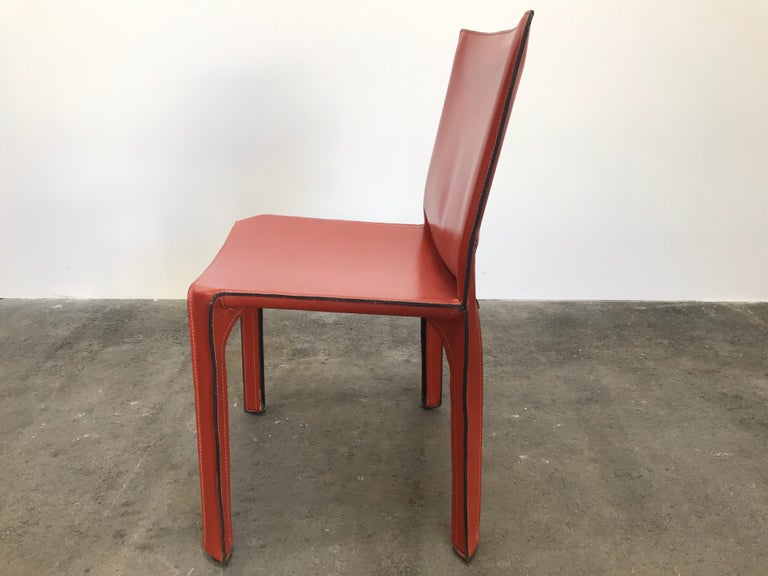 20th Century 8 Mario Bellini CAB 412 Chairs in Russian Red Leather for Cassina For Sale
