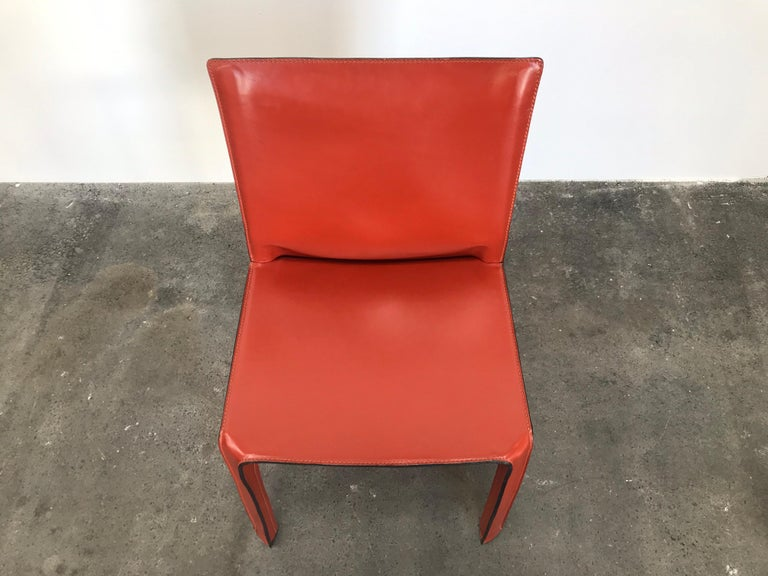 8 Mario Bellini CAB 412 Chairs in Russian Red Leather for Cassina For Sale 1