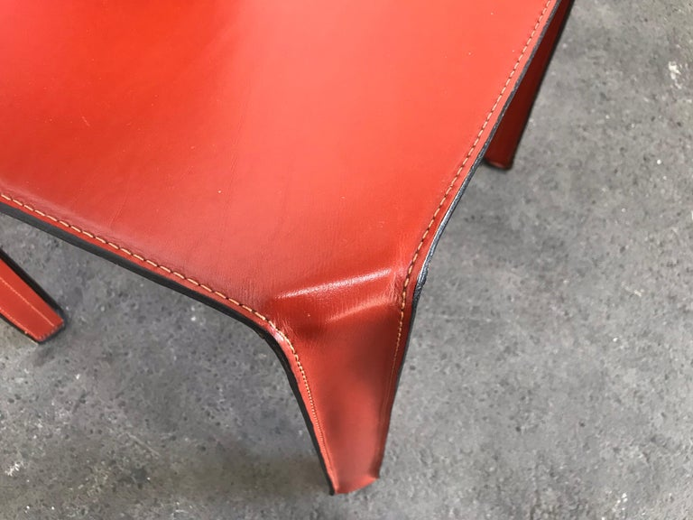 8 Mario Bellini CAB 412 Chairs in Russian Red Leather for Cassina For Sale 2