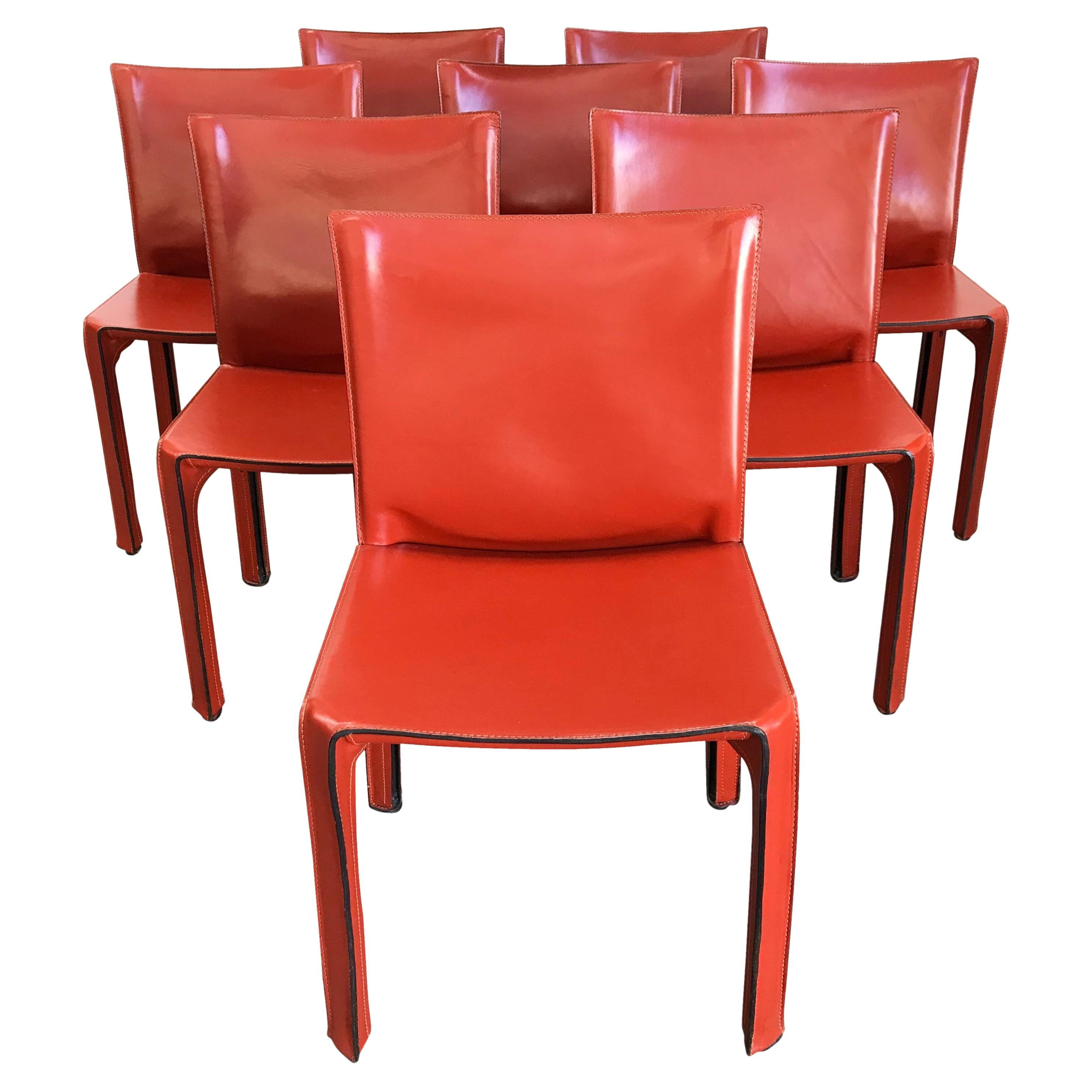 8 Mario Bellini CAB 412 Chairs in Russian Red Leather for Cassina