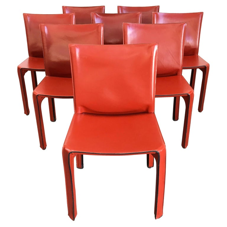 8 Mario Bellini CAB 412 Chairs in Russian Red Leather for Cassina For Sale