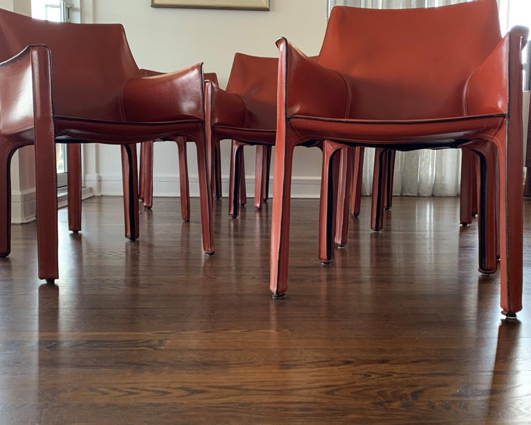 Mid-Century Modern 8 Mario Bellini CAB 413 Armchairs in Russian Red 'Cognac' Leather for Cassina