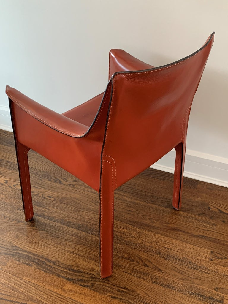 20th Century 8 Mario Bellini CAB 413 Armchairs in Russian Red 'Cognac' Leather for Cassina