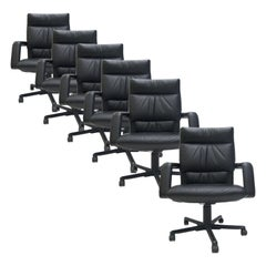 8 Mario Bellini for Vitra Leather Swivel and Tilt Executive Desk Office Chairs