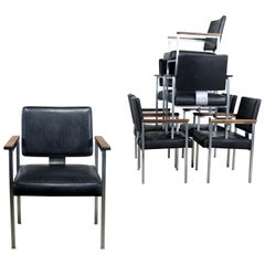 8 MCM Brushed Steel Black Vinyl Dining Conference Chairs with Walnut Arms