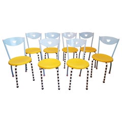 8 Memphis Postmodern Dining Chairs Manner of Michele De Lucci, Italy, 1980s