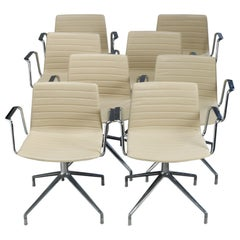 8 Mid-Century Modern Eames for Miller School Chrome Swivel Chairs by Cazzaniga