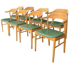 8 Midcentury Swedish Beechwood Dining Chairs by Ferdinand Lundquist for Gemla