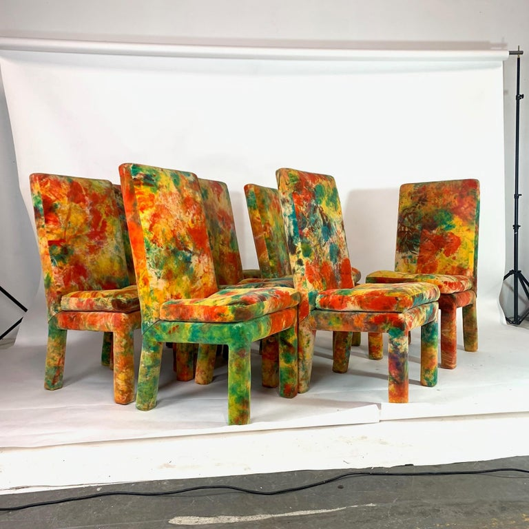 Amazing one of a kind set of Milo Baughman for Thayer Coggin chairs from the 1970s. Upholstered in a very rare Jack Leonor Larsen tie die velvet upholstery. These chairs are stunning in person. A real showstopper! The seats are very soft with high