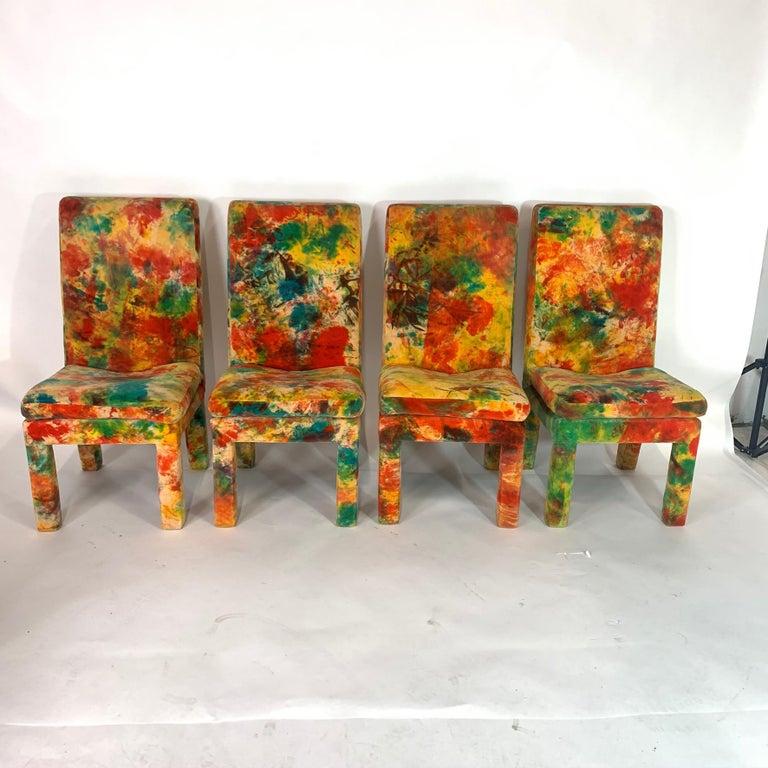 Mid-Century Modern 8 Milo Baughman for Thayer Coggin with Jack Leonor Larsen Tie Die Velvet Chairs