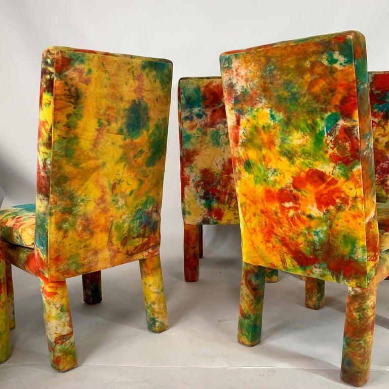 Upholstery 8 Milo Baughman for Thayer Coggin with Jack Leonor Larsen Tie Die Velvet Chairs