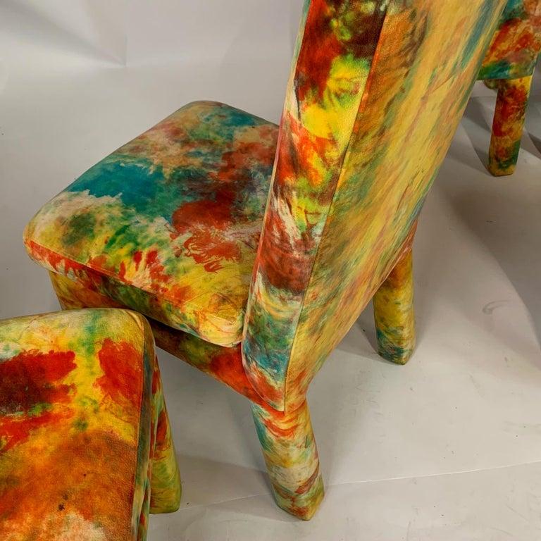 8 Milo Baughman for Thayer Coggin with Jack Leonor Larsen Tie Die Velvet Chairs 1