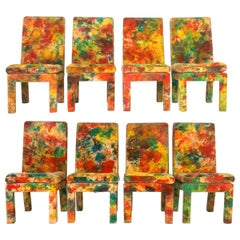 8 Milo Baughman for Thayer Coggin with Jack Leonor Larsen Tie Die Velvet Chairs