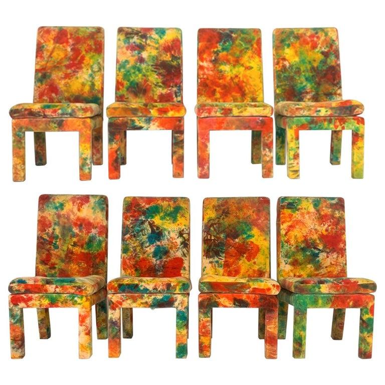 8 Milo Baughman for Thayer Coggin with Jack Leonor Larsen Tie Die Velvet Chairs