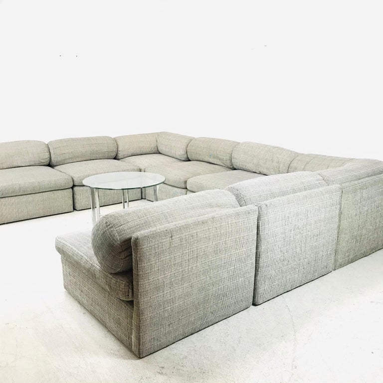 Beautiful 8-piece sectional sofa by Milo Baughman for Thayer Coggin. Re-upholstery recommended (see photos for details).