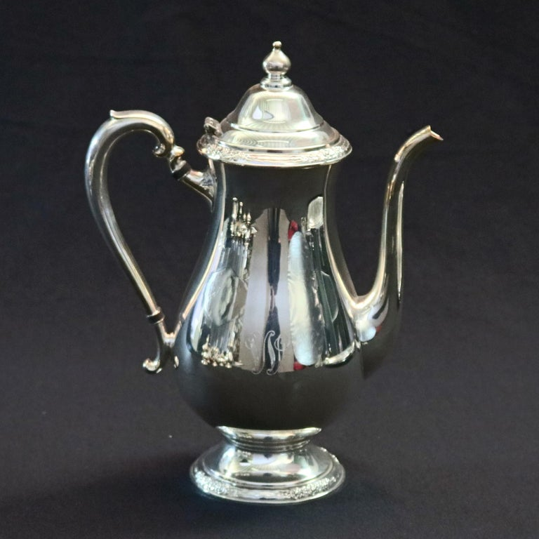 8-Piece Silver Plate Coffee & Tea Service Monogrammed