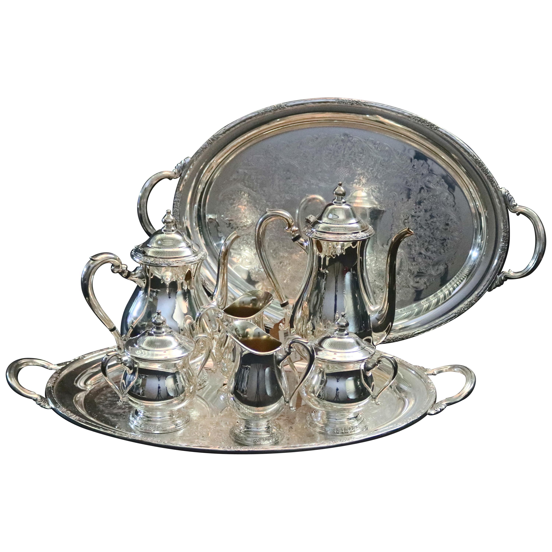 "8-Piece Silver Plate Coffee & Tea Service Monogrammed ""W"", 20th Century"