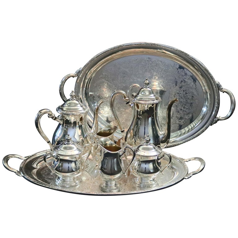 "8-Piece Silver Plate Coffee & Tea Service Monogrammed ""W"", 20th Century For Sale"