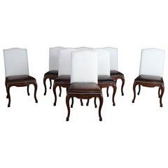 8 Ralph Lauren Henredon Duke Side Dining Chairs Mahogany Leather & Nailhead Trim