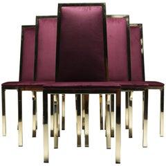 8 Romeo Rega Italian Brass Dining Chairs in Purple Velvet