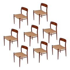 8 Roped Seat Danish Teak Dining Chairs Model 75 by Niels Otto Moller