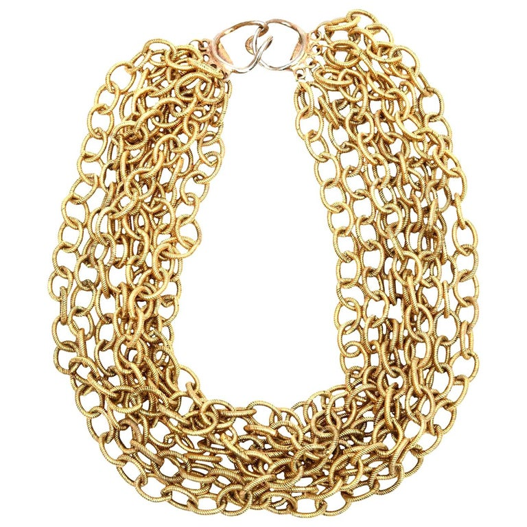 8 Row Chain Necklace Italian Vintage For Sale
