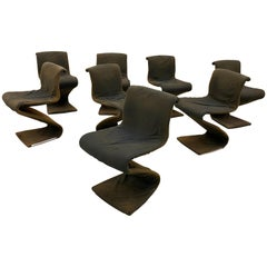8 S Vintage Chairs, Pop Design, Metal Structure, Stretched Fabric, 1960-1970