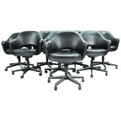 Set of 8 Saarinen for Knoll Executive Arm Chairs in Black Leather W/ Swivel Base