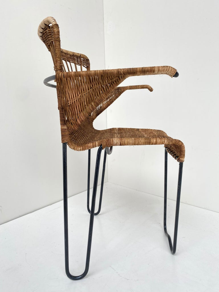 8 Sculptural Form 'Oro' Dining Chairs by Raoul Guys, 1951, Airborne, France For Sale 3