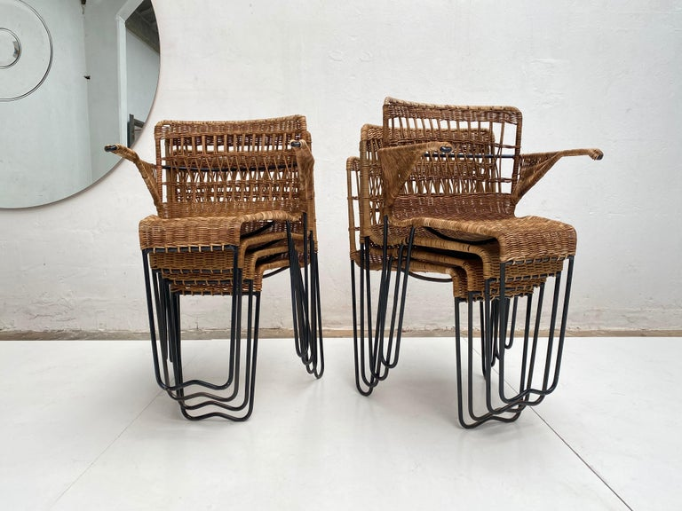 8 Sculptural Form 'Oro' Dining Chairs by Raoul Guys, 1951, Airborne, France For Sale 10