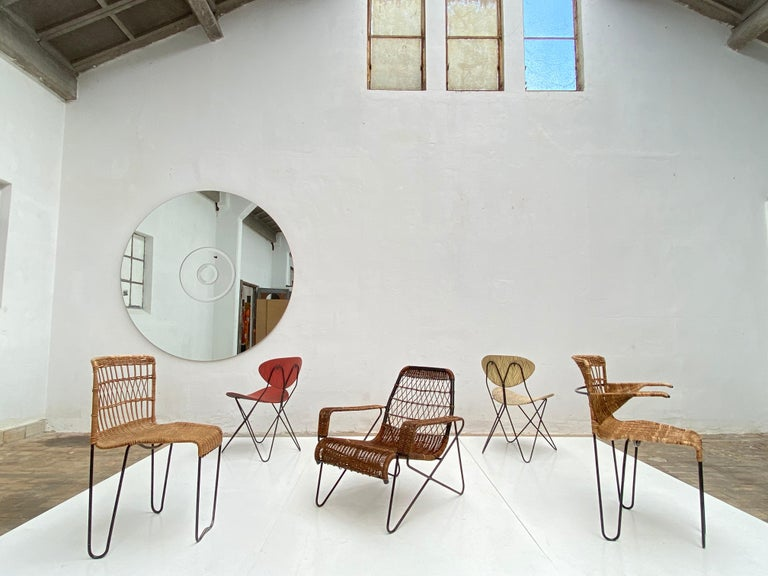 8 Sculptural Form 'Oro' Dining Chairs by Raoul Guys, 1951, Airborne, France For Sale 11